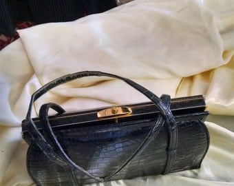 LuCille DeParis Black Alligator Bag   50% off