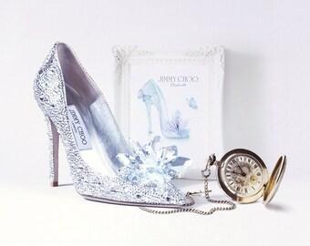 Cinderella Jimmy Choo Princess High Heel Shoes Swarovski Crystal and Glitter Fashion Mini Illusration or Canvas Print