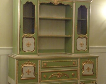 Antique Painted Jacobean Sideboard with French Country China Hutch Cabinet with wired inserts