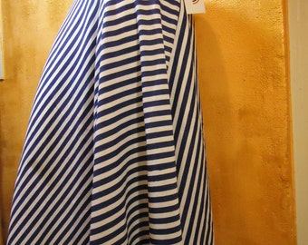 skirt striped blue and white skirt long marine, natural cotton skirt thin jersey, full skirt, flared skirt, Russian skirt