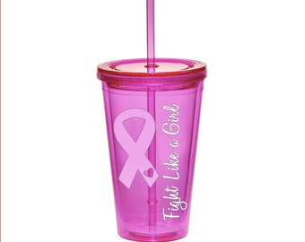 Breast Cancer Awareness Pink Ribbon Tumbler - Fight Like a Girl