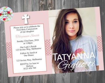 Pink Holy Communion Baptism Christening Invite with cross and photo
