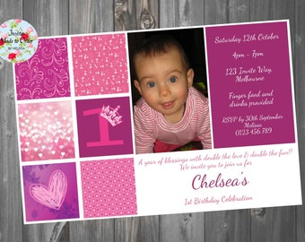 Girls 1st 2nd birthday Invitation with photo purple and pink
