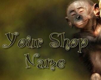 Monkey Banner Set, Wildlife Banner Set, Shop Banner Set, Graphic Design, Banner Design, Shop Banner, Custom Banner, Premade Banner,