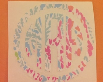 Lilly inspired monogram with scalloped circle