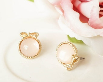 Cute Pastel Pink Stud Earrings