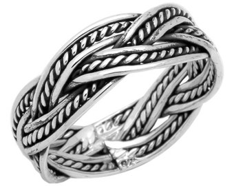 Sterling Silver Oxidize Braided weave Band Ring size 6 7 8 9