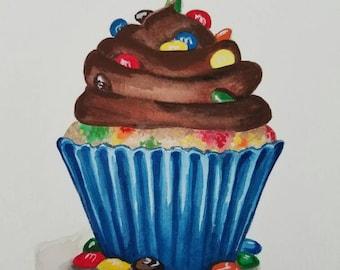 M&M Cupcake- 5x7 Original Watercolor Commission