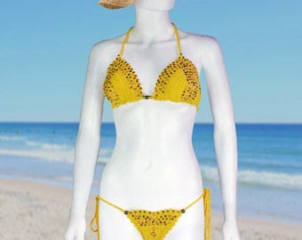 Mustard Yellow, Handmade Crochet Bikini with Sequins