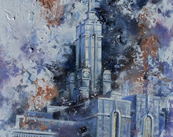 ON SALE! Timpanogos  Utah LDS Mormon Temple Art.  Beautiful and Unique Canvas Print for your Home or as a Gift!
