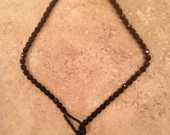 Asian red fan vintage black faceted onyx beaded necklace
