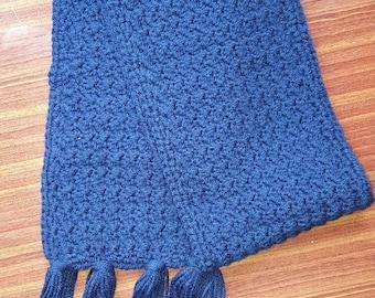 Handmade crochet scarf..navy blue