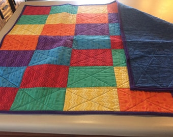 Primary color baby blanket.