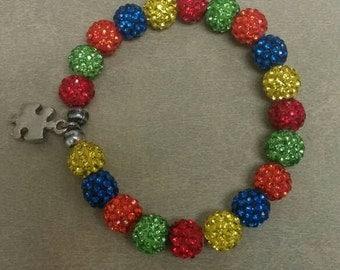Autism bracelet with puzzle piece