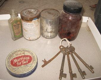 Antique bottles, tins  & Keys