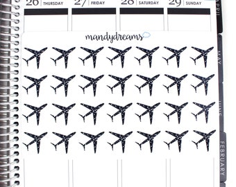 Black Glittery Airplane Stickers