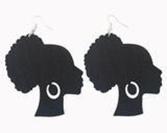 Afro Puff Lady With Earrrings