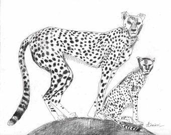 Original chettah drawing, blac ink, pen line art, handmade drawing, line drawing, ink drawing, sketch animal drawing, wall art