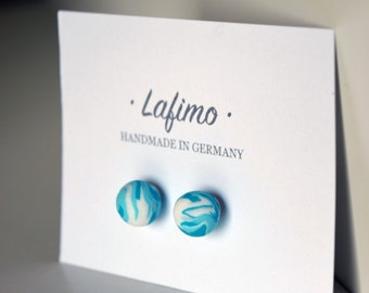handmade earrings made from polymer clay - marble ball turquoise