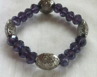 Puffy Rondelle Deep Purple Bracelet