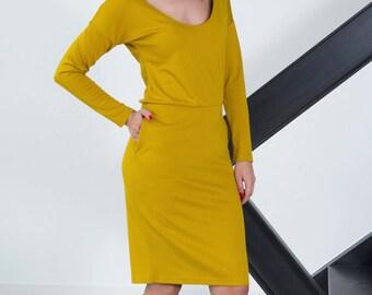 Midi Dress - Pencil Dress - Elegant Dress - Elegant Midi Dress - Simple Elegant Dress - Mustard Dress - Midi Pencil Dress - Tight Dress