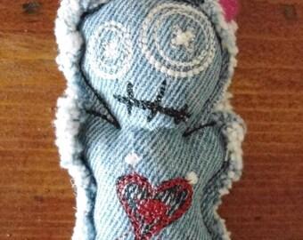 "Upcycled Denim ""The Ex"" Voodoo Doll Pincushion (Light Denim)"