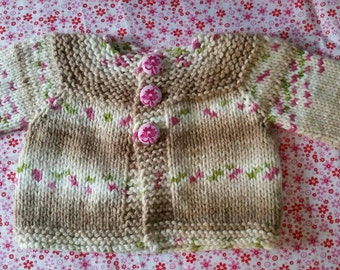 Lovely woodland flower jacket with handmade fabric buttons