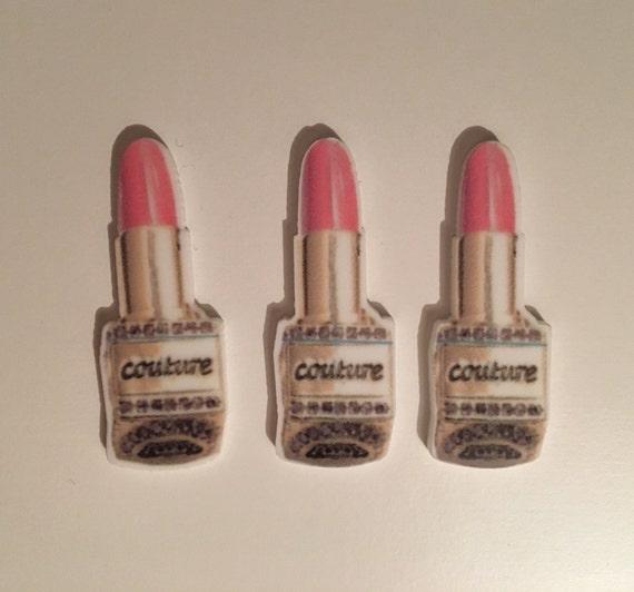Reduced 3 Lipstick Makeup Lipgloss Planar Resin. Flatback cabochon bow centre embellishments shrinky dink. harajuku Brooch Necklace favor