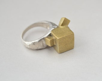 Pyrite inspired- Statement ring
