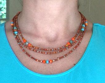 3-strand Southwest colors beaded necklace