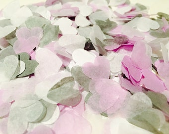 Lilac, grey and white heart wedding confetti - biodegradable