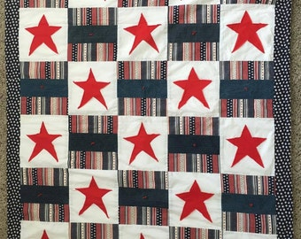 Americana quilt, stars & stripes quilt, lap quilt