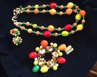 Vintage Fruit Necklace, Bracelet and Earrings