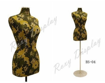 Female Size 6/8 Linen Body Form Forest Green and Yellow Flower Texture Cover
