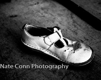 Urban Decay Baby Shoe Black and White Abandoned Building Photo Old Picture Urbex 8x12 Print Atlanta Smyrna Creepy Fine Art Photography