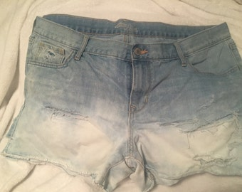 Distressed and Bleached Denim Shorts (Size 16)