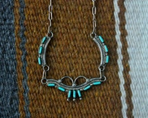 Native American Zuni Turquoise Sterling Necklace