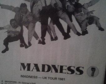 Very rare original Madness concert poster