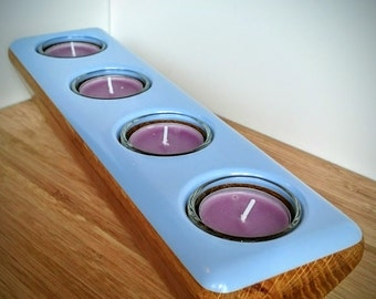Handmade Solid Oak and Blue/Lilac Corian Candle Holder