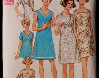 Vintage Women's Dress Pattern Simplicity 8266 Retro 1960's size 42