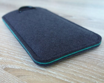 S7 edge ANTHRACITE/AQUAMARINE · Cell phone case for Samsung Galaxy S7 EDGE with pull tab sleeve case made of wool felt