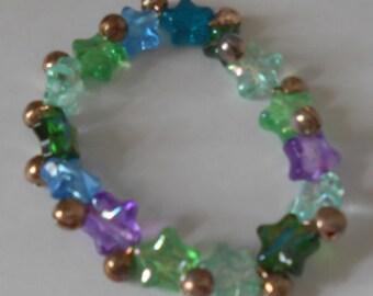 Stretchy Bracelet, Green, Blue, Purple, Glitter, Bells, Stars