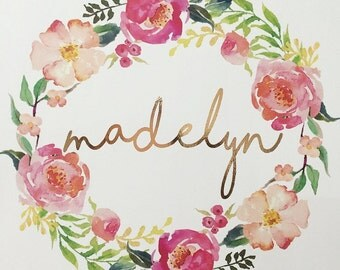 Personalised Watercolour 'Madelyn' Floral Wreath Foil Print
