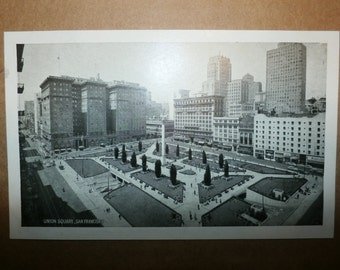 Vintage Postcard Union Square San Fransisco Old Collectible