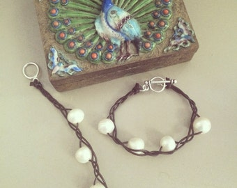 Braided Leather and Large River Pearl Bracelet