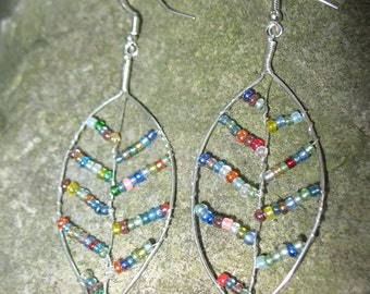 Leaf Earrings made with colorful seed beads