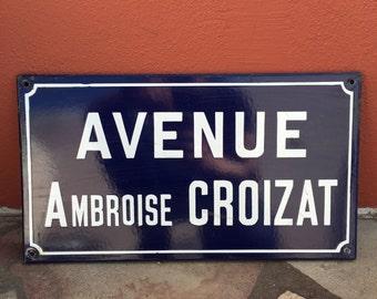 Old French Street Enameled Sign Plaque - vintage croizat 4