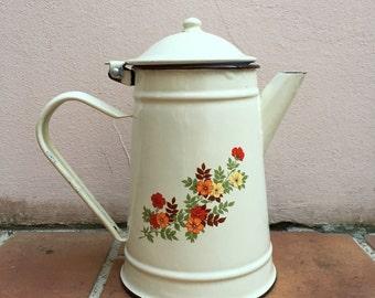 RARE Vintage French Enamelware beige flowers Enamel Coffee Pot