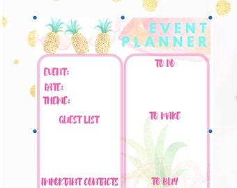 Printable Pineapple Event Planner