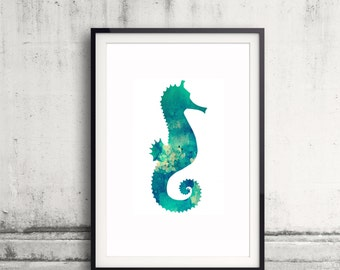 Seahorse Watercolor Print - Seahorse Print - Watercolor Art - Nursery Wall Art - Bathroom Decor - Animal Art - Watercolor Painting Poster